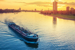 Cargo ship in the river Rhine Stock Image