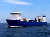 Cargo Ship Ro-Ro. Roll on Roll off Cargo Vessel underway at sea Royalty Free Stock Photos