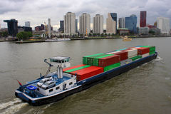 Cargo ship in Rotterdam harbor Royalty Free Stock Images