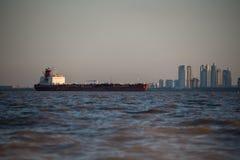 Cargo Ship sailing through Buenos Aires Argentina. Stock Photo