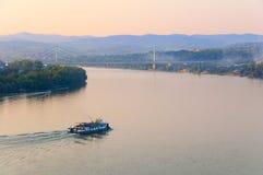 Cargo ship sailing on the river. Danube stock photos