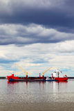Cargo ship sailing on the river royalty free stock photography