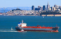 Cargo ship sailing in San Francisco bay Stock Photo