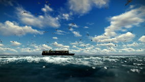Cargo ship sailing, time lapse clouds and seagulls, sound included stock footage