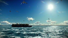 Cargo ship sailing, timelapse clouds and seagulls, with sound