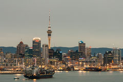 Cargo ship sailing to Auckland harbor Royalty Free Stock Photo