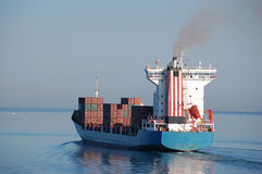 Cargo ship sails Royalty Free Stock Image