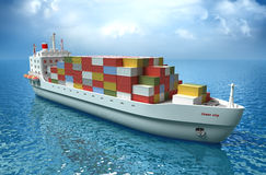 Cargo ship sails across the Ocean. My own design. High quality 3d render vector illustration
