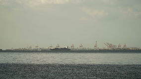 Cargo ship sails on the sea. Philippines, Manila. stock footage
