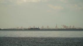 Cargo ship sails on the sea. Philippines, Manila. stock video