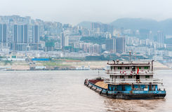 Cargo ship sails on the Yangtze River Royalty Free Stock Images