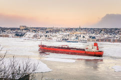 Cargo Ship on Saint Lawrence River in Winter Royalty Free Stock Photography