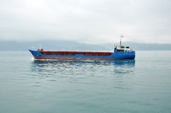 The cargo ship in a sea Stock Image
