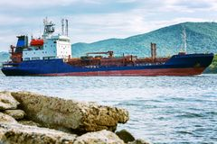 Cargo ship in the sea royalty free stock photography