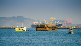 Cargo ship. At sea inthailand Stock Photo