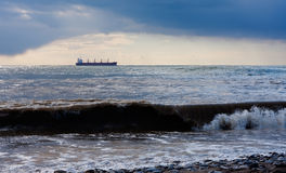 Cargo ship in the sea Royalty Free Stock Images