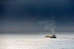 Cargo ship on the sea Stock Image