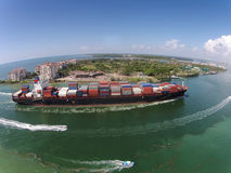 Cargo ship seen from above Royalty Free Stock Photography