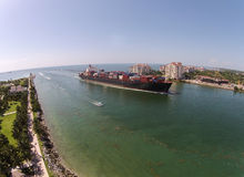 Cargo ship seen from above Stock Photography