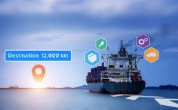 Cargo ship Sending goods to destination. Cargo ship Sending goods to destination with sunlight at horizon. Virtual Navigation concept. Graphic of AR application stock photo