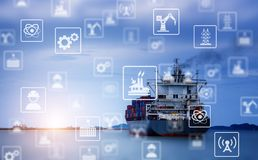 Industry icon pattern on cargo ship background. Cargo ship Sending goods to destination with sunlight at horizon. Industrial icon pattern stock photos
