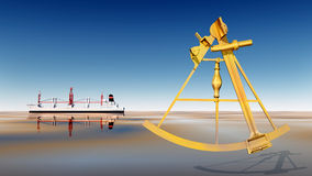 Cargo ship and sextant Stock Photography