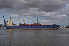Cargo ship with shipping containers Stock Images