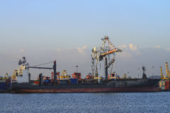 Cargo ship with shipping containers at Thailand Royalty Free Stock Photography