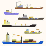 Cargo ship side view. Detailed cargo ship vector isolated Royalty Free Stock Photo