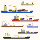Cargo ship side view. Detailed cargo ship vector isolated stock illustration