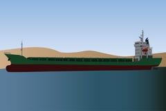Cargo ship. The single cargo ship on the raid near the seashore Royalty Free Stock Image