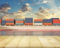 Cargo ship and sky Stock Photo