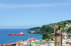 Cargo ship in St. George Harbor Stock Photos