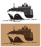 Cargo ship. Stylized vector illustration on the theme of marine transportation. large cargo ship Royalty Free Stock Image