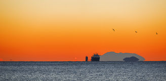 Cargo ship at sunrising Stock Photography