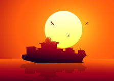 Cargo Ship in Sunset - vector Stock Photography