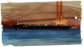 Cargo Ship And Suspension Bridge Royalty Free Stock Photo