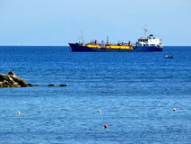 Cargo ship - tanker. Tanker heading to a harbour. Rhodes, Greece stock photo