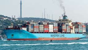 A cargo ship tanker travelling through Bosphorus Strait, istanbul, Turkey royalty free stock photos