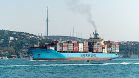 A cargo ship tanker travelling through Bosphorus Strait, istanbul, Turkey stock images