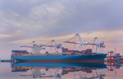 Cargo ship in Trade Port , Container loading Shipping by crane Stock Image