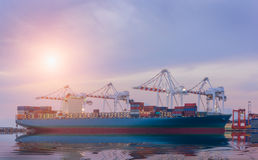Cargo ship in Trade Port , Container loading Shipping by crane Stock Photography