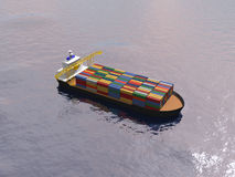 Cargo ship transporting containers in a calm ocean. Royalty Free Stock Photography