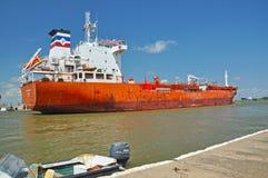 Cargo ship transporting petrol on Danube Royalty Free Stock Photos