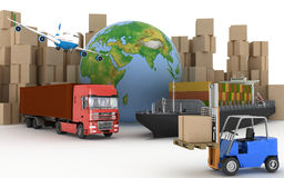 Cargo ship, truck, plane and loader with boxes Royalty Free Stock Photo
