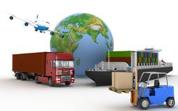 Cargo ship, truck, plane and loader with boxes Stock Images