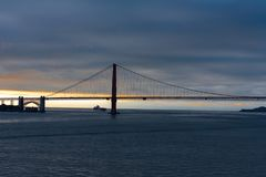 Cargo Ship Under the Golden Gate Royalty Free Stock Photography