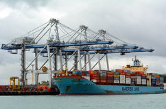 Cargo ship unloading containers in Ports of Auckland New Zealand. AUCKLAND,  NZL - OCT 13 2015:Big cargo ship unloading containers in Ports of Auckland New Stock Photography