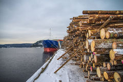 Cargo Ship Unloading Timber Royalty Free Stock Images
