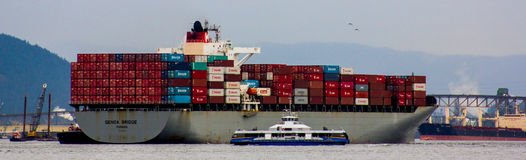 Cargo Ship in Vancouver Harbour. Royalty Free Stock Image